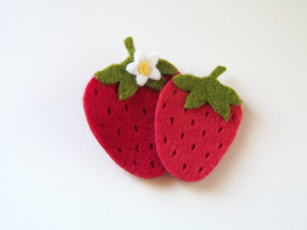 Wool Blend Hair Clip - Stawberries
