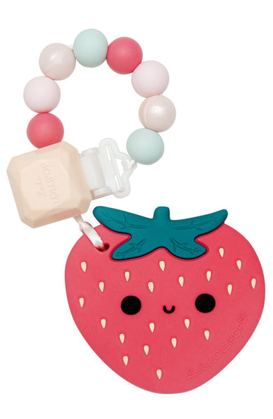 Silicone Teether With Clip - Strawberry