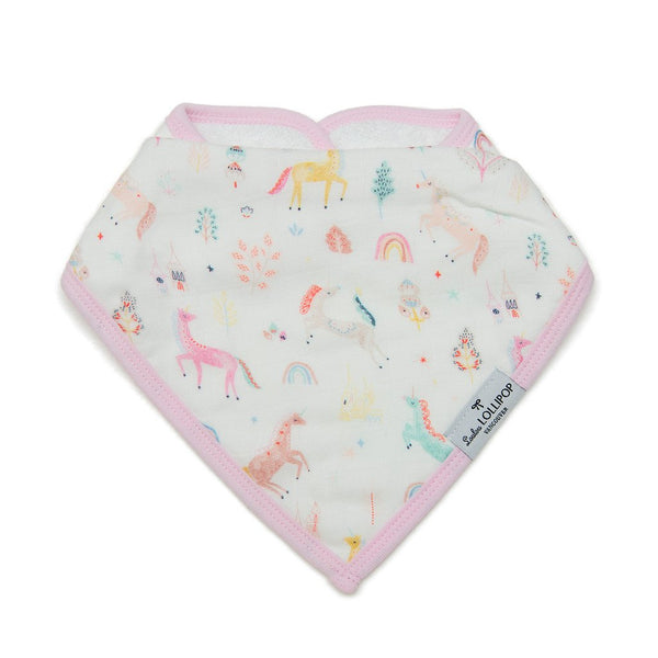 Luxe Muslin Bandana Bib Set - Unicorn Dream