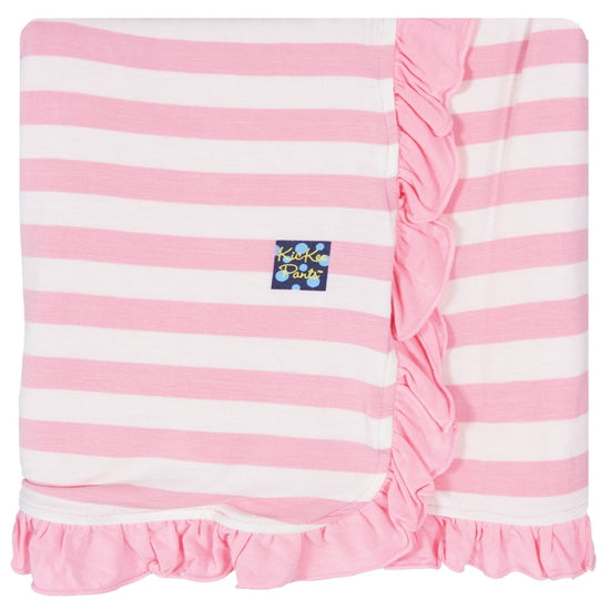 Essentials Print Ruffle Toddler Blanket in Lotus Stripe