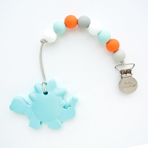 Silicone Teether With Clip - Dinosaur