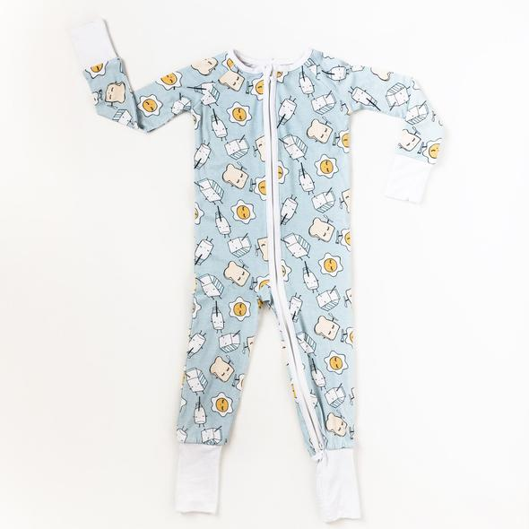 Bamboo Zip Romper - Blue Breakfast Buddies