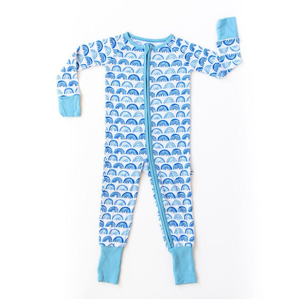 Bamboo Zip Romper - Blue Rainbows