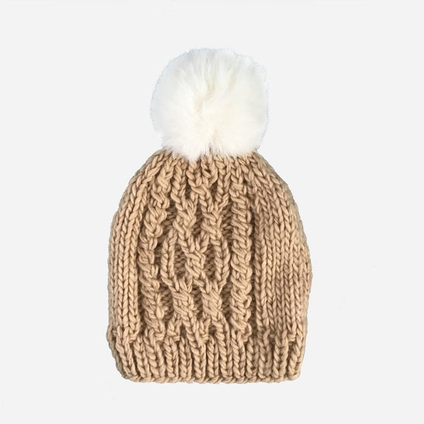 Cable Knit Hat with Cream Pom - Latte