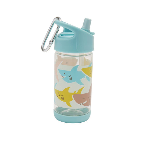 Clear Tritan Flip & Sip Water Bottle - Smiley Shark