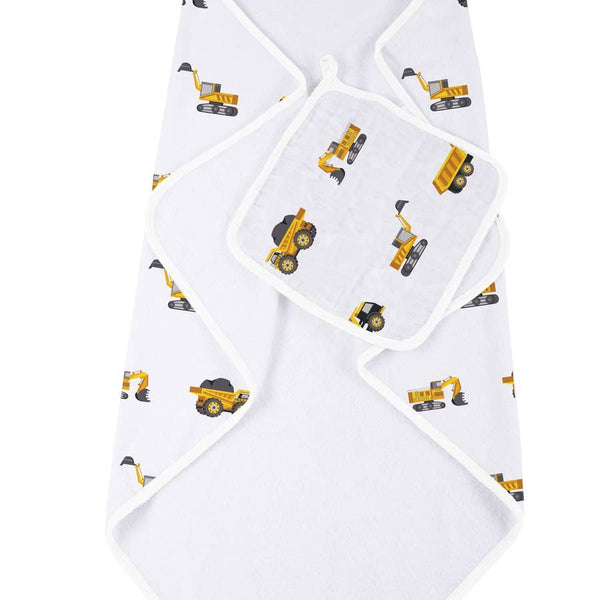 Hooded Towel and Washcloth Set - Yellow Digger