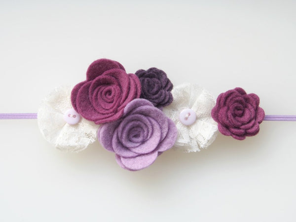 Felt and Lace Flowers Headband (Various Colors)