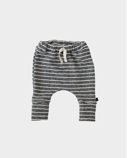 Heather Charcoal Stripe Terry Knit Slim Harems