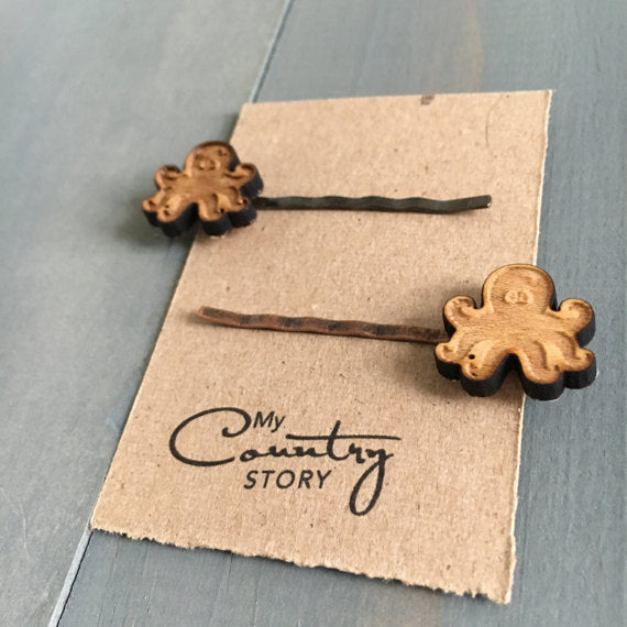 Natural Wood and Copper Hair Pins