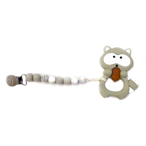 Silicone Teether With Clip - Gray Raccoon