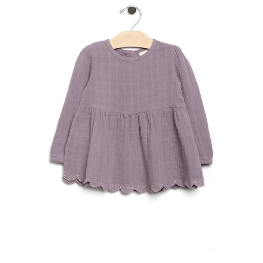 Muslin and Lace Peplum - Violet
