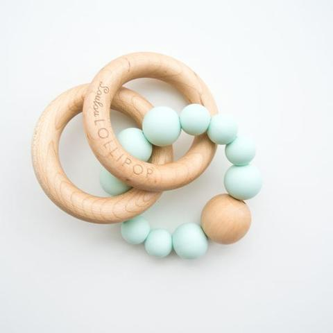 Bubble Silicone & Wood Teether - Mint