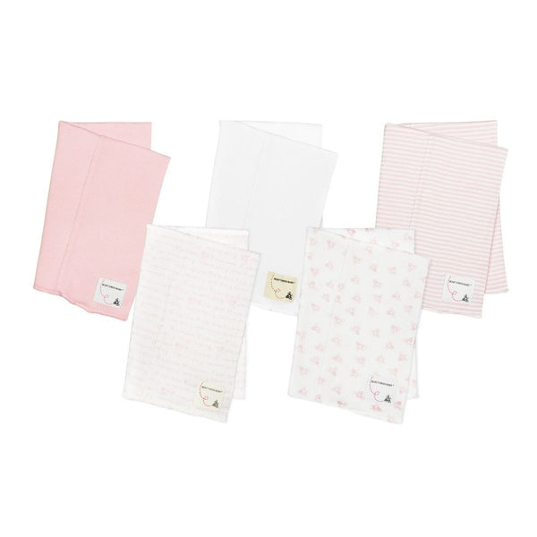Bee Essentials Organic Baby Burp Cloths - Set of 5 (Pink)