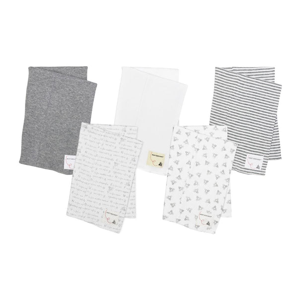 Bee Essentials Organic Baby Burp Cloths - Set of 5 (Gray)