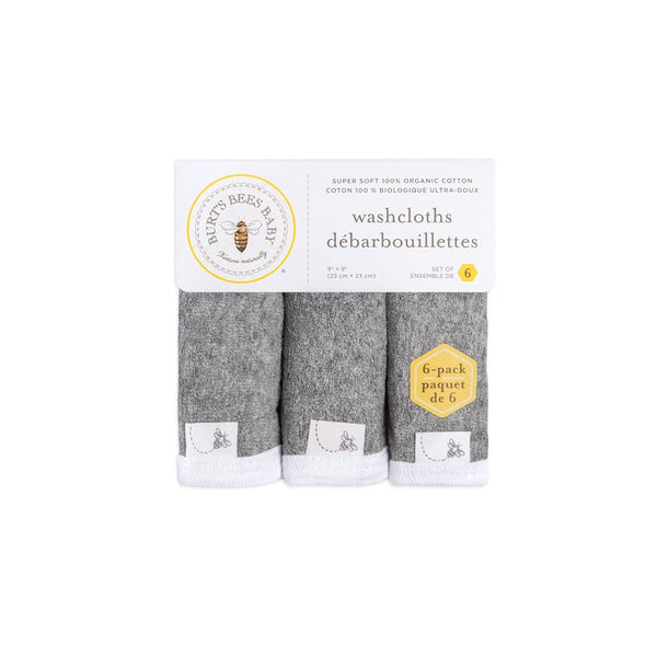 Organic Cotton Terry Knit Washcloths - Heather Gray & White