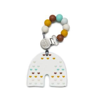 Silicone Teether With Clip - Neutral Rainbow