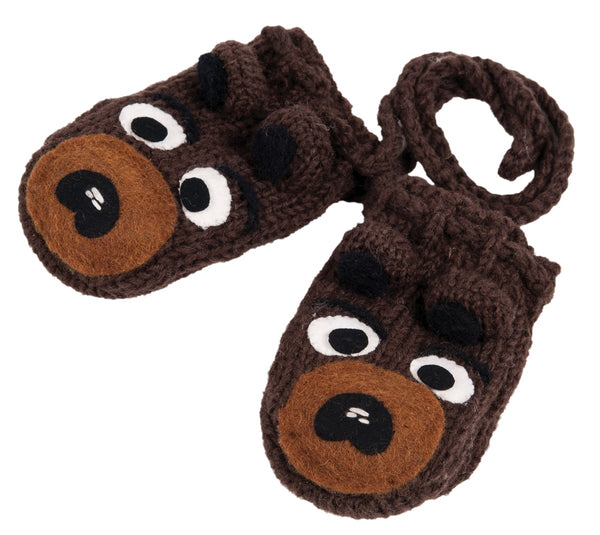 Hand Knit Bear Mittens