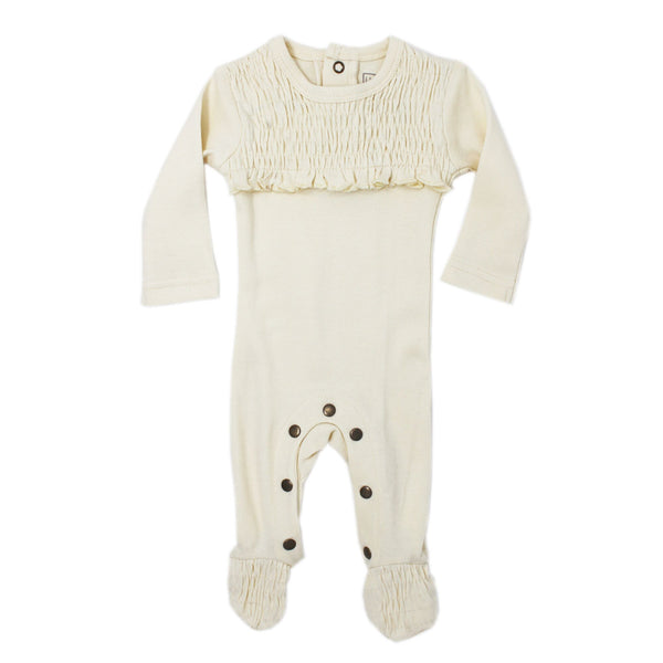 Organic Smocked Overall - Beige