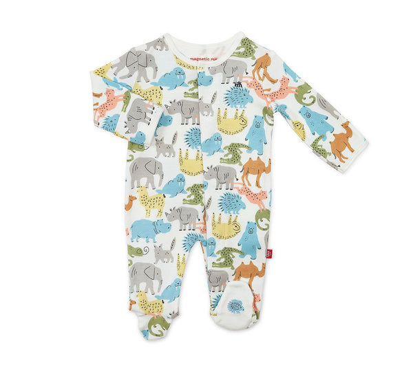 Organic Cotton Magnetic Footie - Zoo Crew