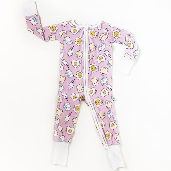 Bamboo Zip Romper - Pink Breakfast Buddies