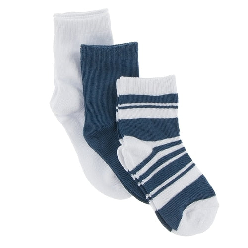 Kickee Socks (Set of 3) - Twilight, Fishing Stripe & Natural