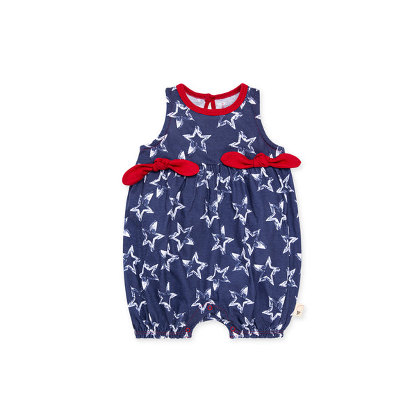 Painted Stars Bubble Romper - Blue Smoke