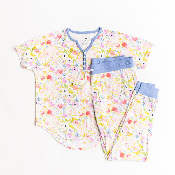 Two-Piece Women's Bamboo Pajama Set - Watercolor Blooms