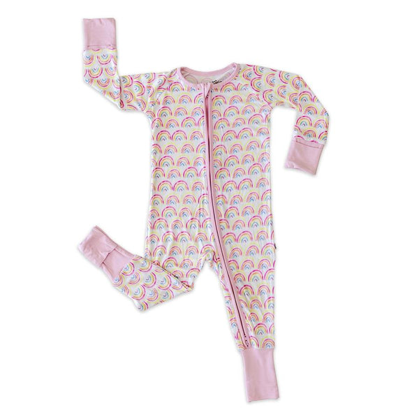 Bamboo Zip Romper - Pastel Rainbows