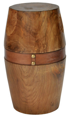 Round Timber Stool with Leather Strap - Large