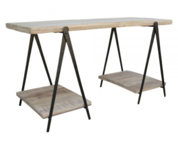 Industrial Iron & Natural Timber Trestle Desk