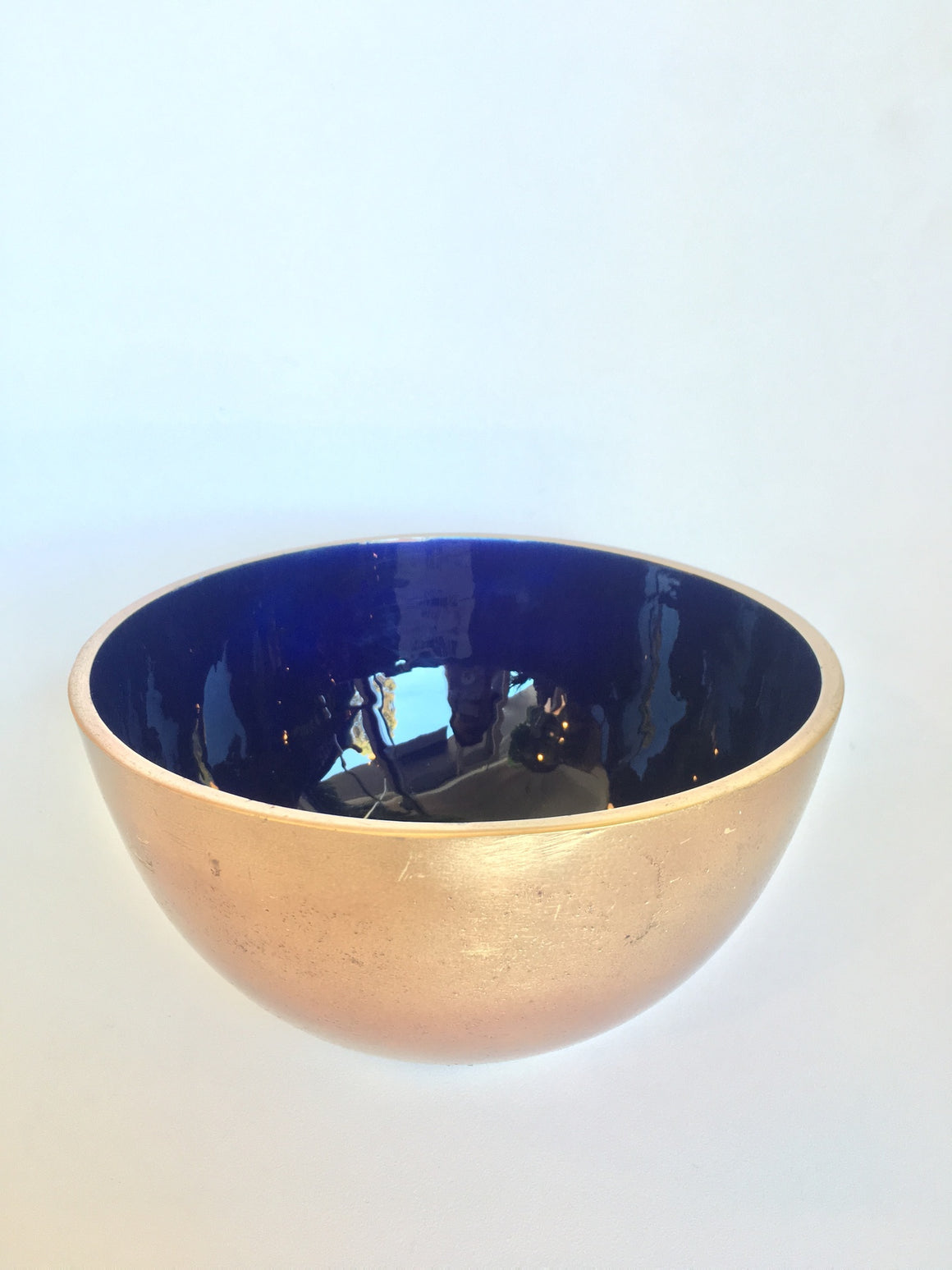 Colbalt Blue and Brass Bowl