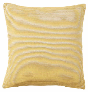 Mustard and White Ribbed Cotton Cushion