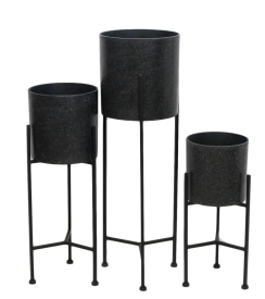Black Terrazzo Look Planter Stand with Black Frame Small - 28cm DIA x 60cm H