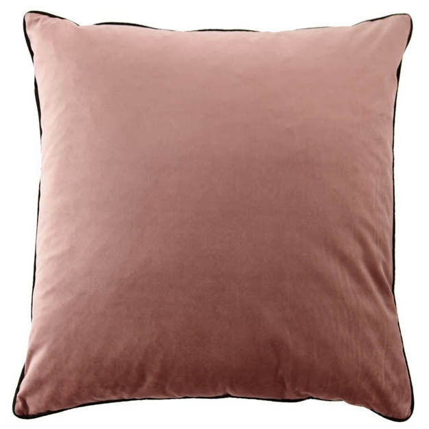 Dusty Rose Velvet Cushion with Slate Piping