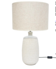 Lamp with Circle Line Ceramic Base and Natural Linen Shade