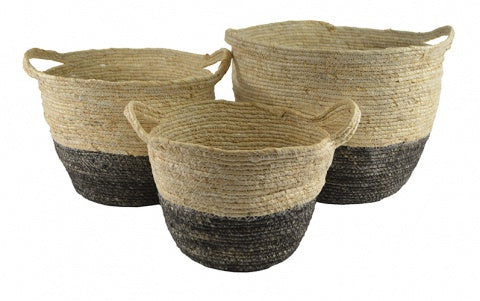 Natural Seagrass Charcoal Dip Baskets with Handles