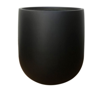 Round Bottom Matte Black Fiberglass Pot - Large