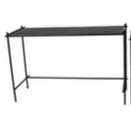 Black Metal Frame with Black Glass Console Table - Large