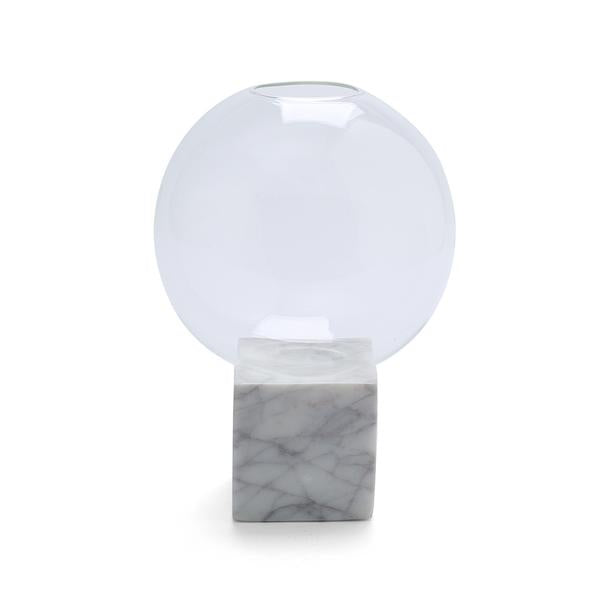 Round Blanc Glass Vase with Cube Marble Base
