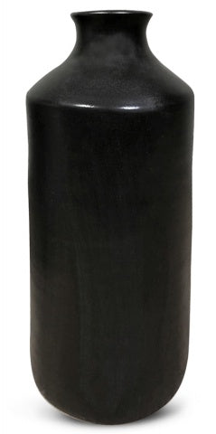 Black Ceramic Barrel Vase