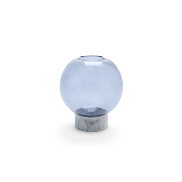 Round Smoked Glass Vase with Marble Base Small