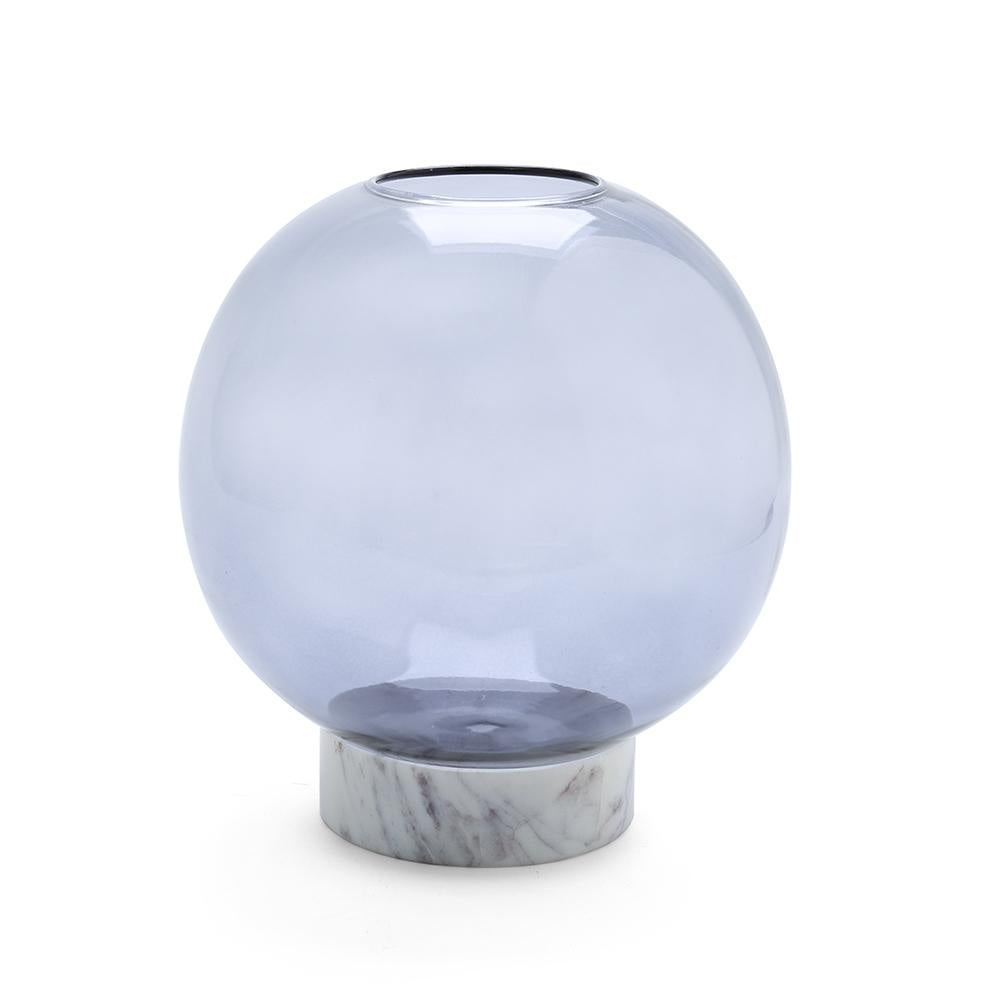 Round Smoked Glass Vase with Marble Base Large