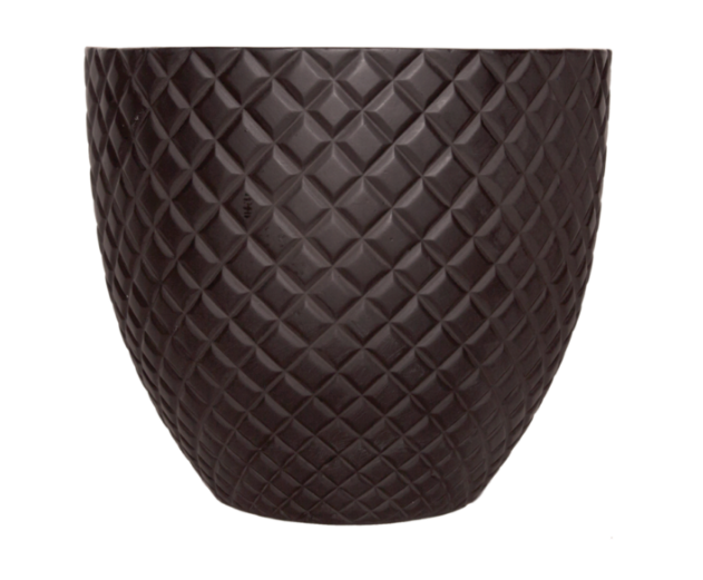 Diamond Pattern Matte Black Fiberglass Pot - Medium