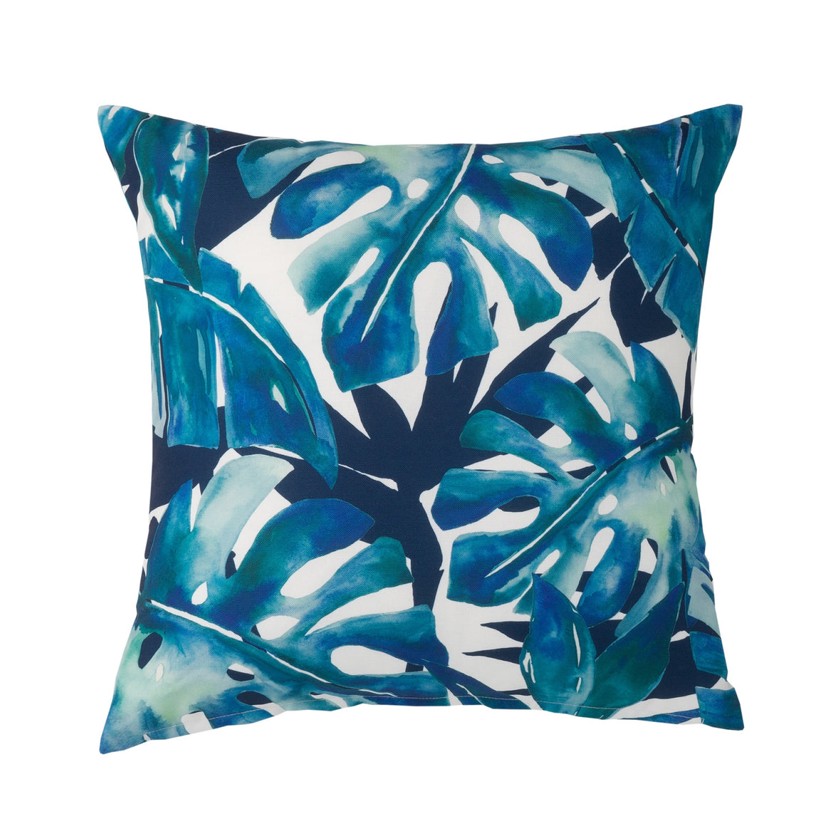 Navy Tropical Leaf Outdoor Cushion
