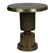 Antique Brass Finish Geometric Side Table - Large