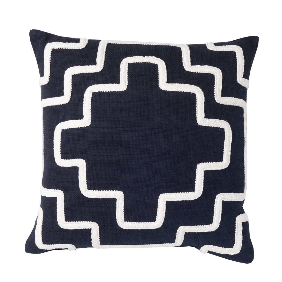 Textured Navy Cushion with White Patterned Detail