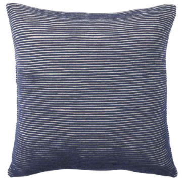 Blue and White Ribbed Cotton Cushion