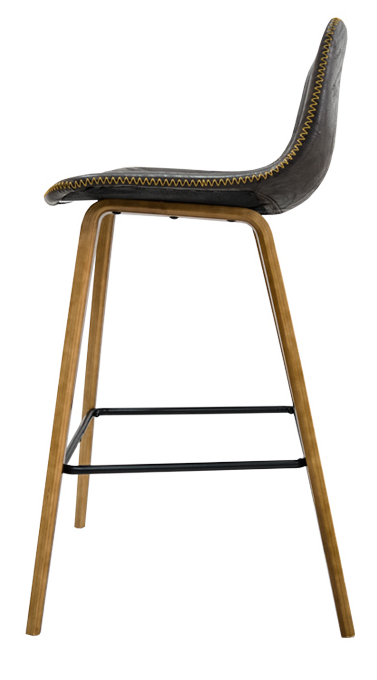 Leather Stitched Bar Stool