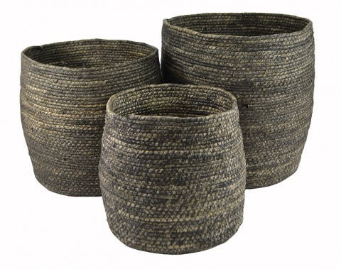Charcoal Seagrass Bell Baskets