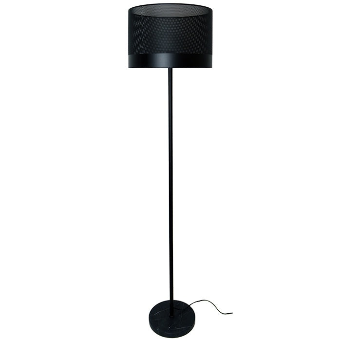 Black Metal Floor Lamp with Perforated Shade and Stone Base